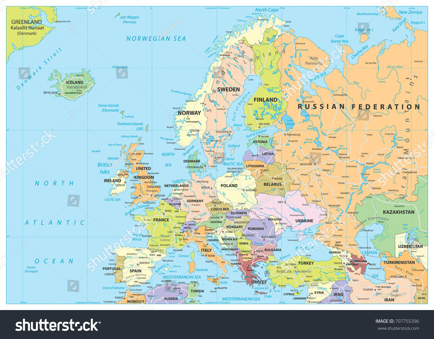Europe Political Map Roads Detailed Vector Stock Vector 707755396