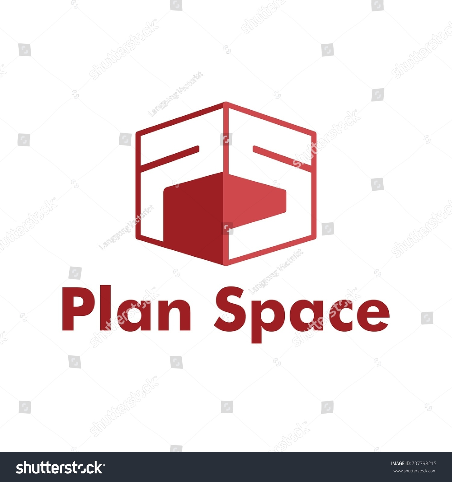 Initial Letter Ps Cube Hexagon Form Stock Vector
