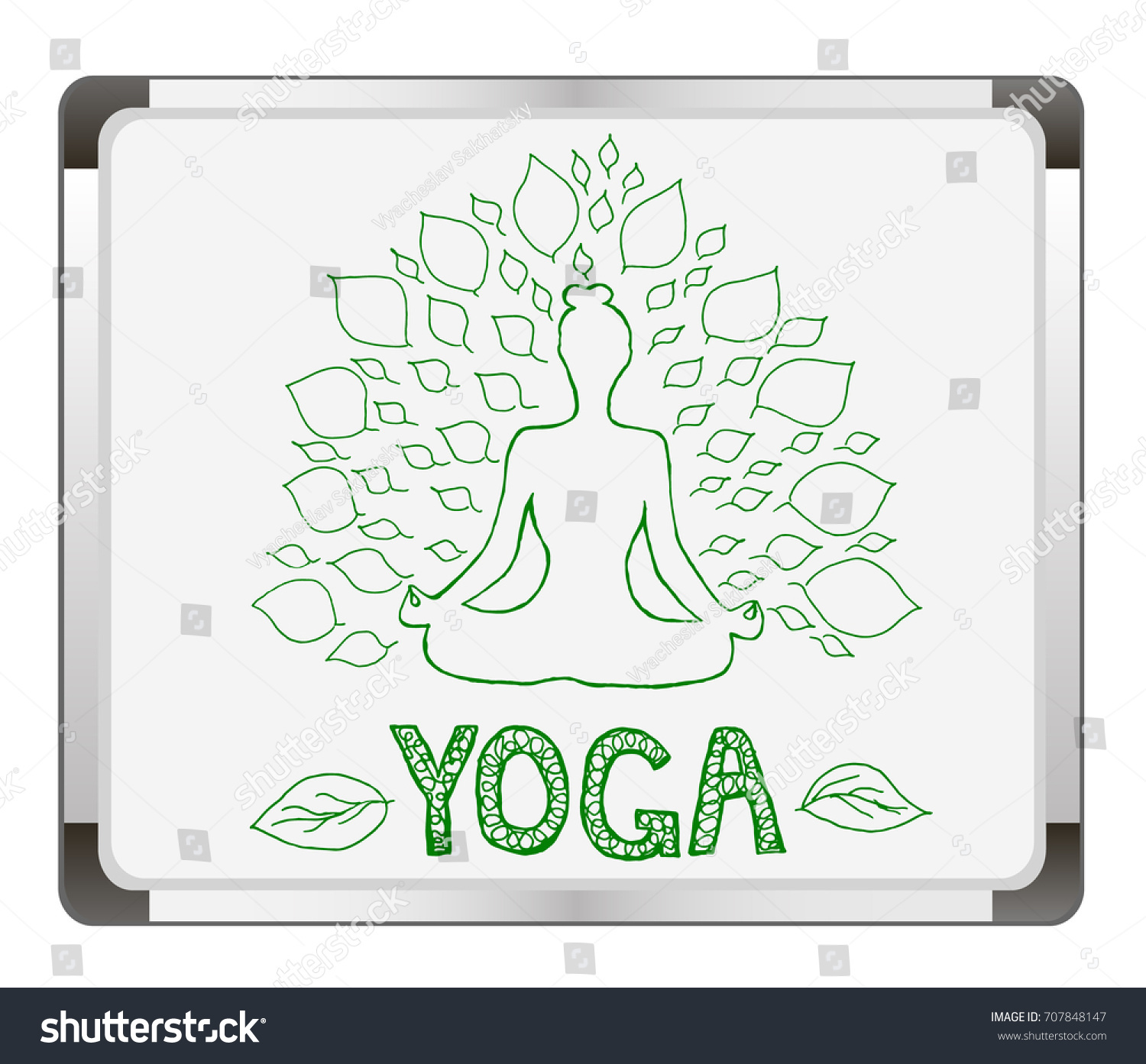 Girl With Leaves On Flip Chart Background Silhouette Of Yoga Woman Lotus Pose