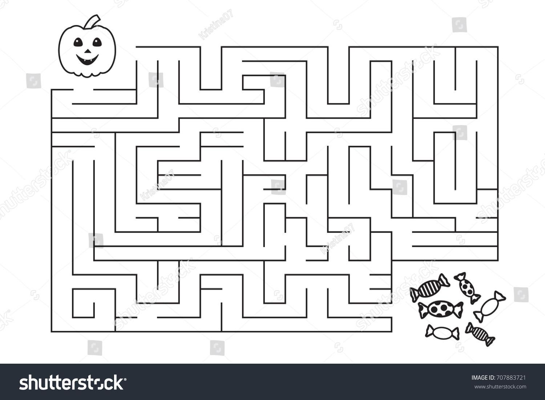 Labyrinth Children Halloween Pumpkin Candies Entry Exit Stock Vector ...