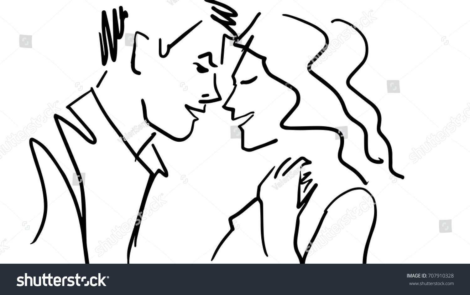 Happy couple black and white sketch simple drawing