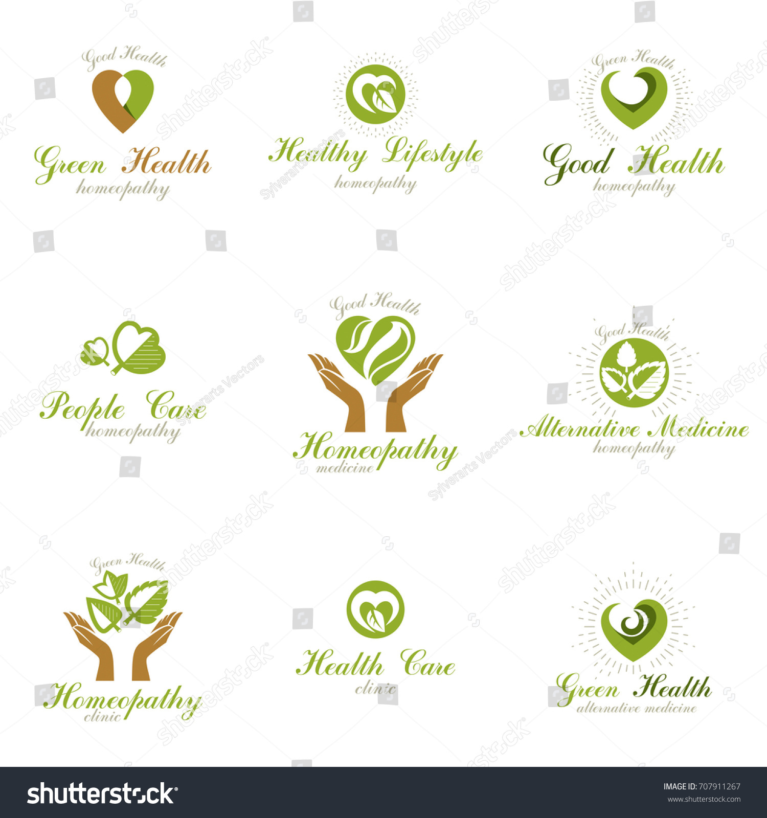 Homeopathy creative symbols collection naturopathy conceptual stock homeopathy creative symbols collection naturopathy conceptual vector emblems created using green leaves heart shapes buycottarizona Images