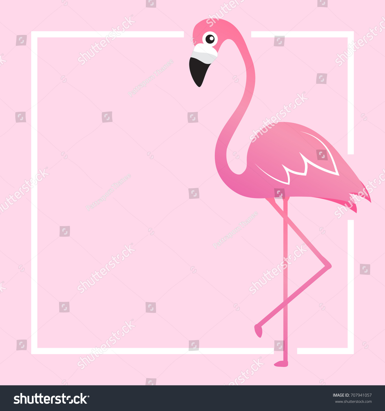 pink template print lovely flamingo vector stock vector 707941057