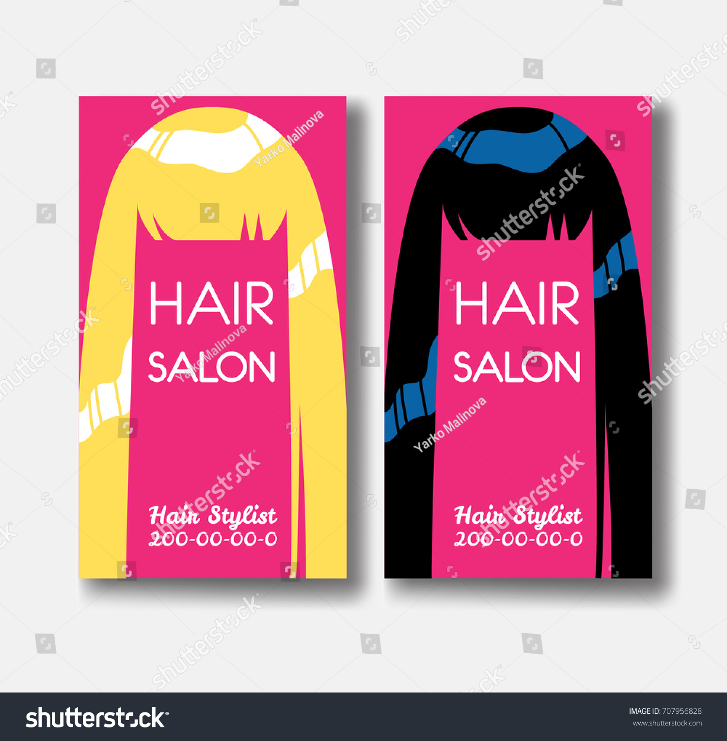 Hair Salon Business Card Templates Blonde Stock Illustration ...