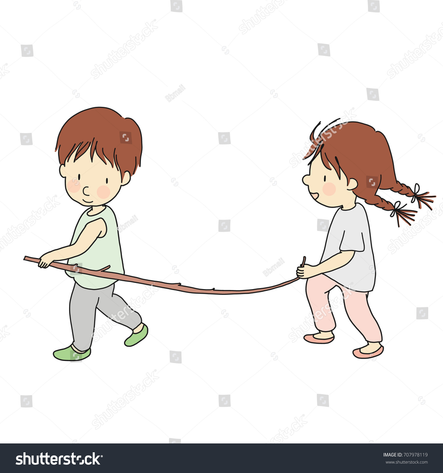 Vector Illustration Little Kid Playing Stick Stock vektorgrafik