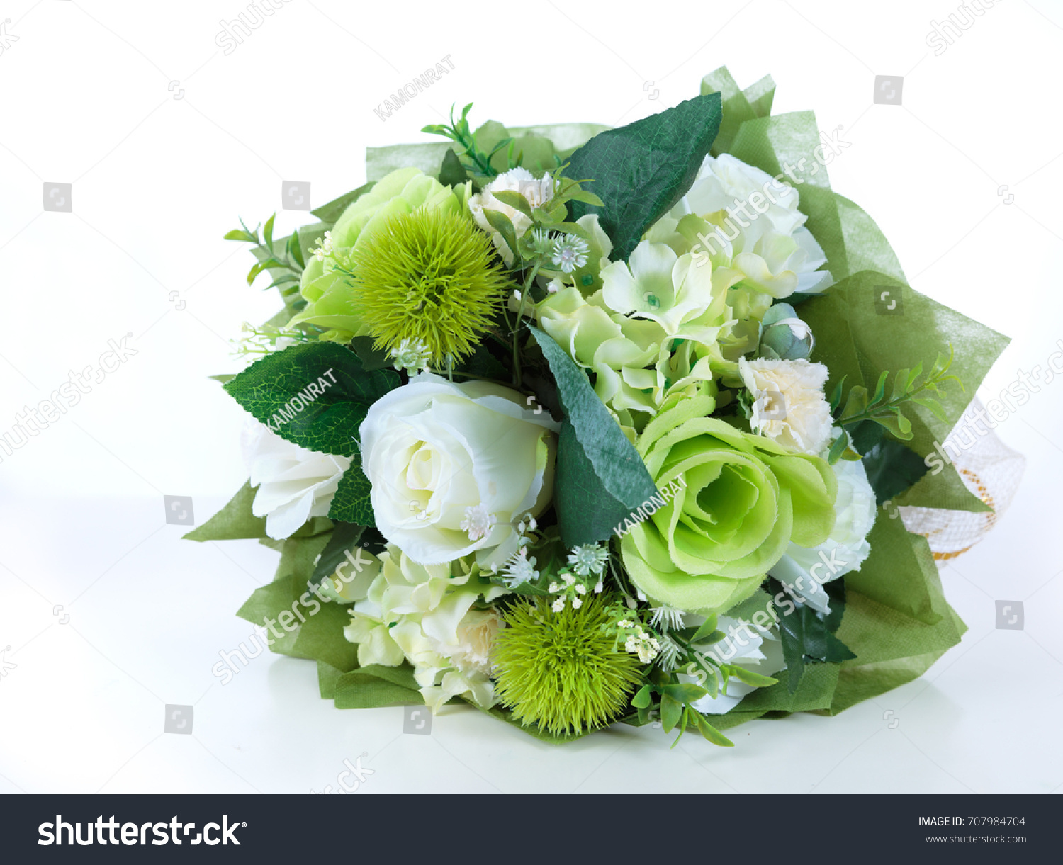 Bouquet White Rose Plastic Flower Isolated Stock Photo Edit Now
