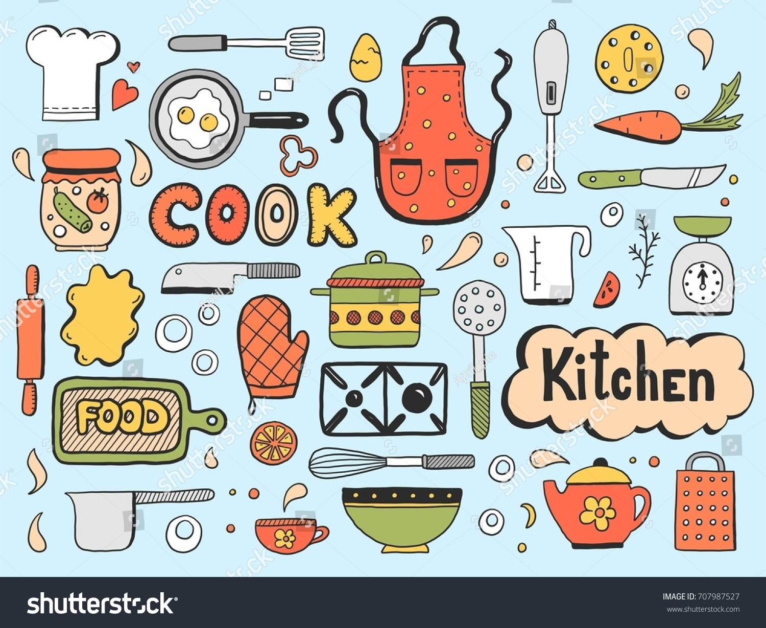 Set Hand Drawn Doodle Cooking Ingredient Stock Photo (Photo, Vector ...