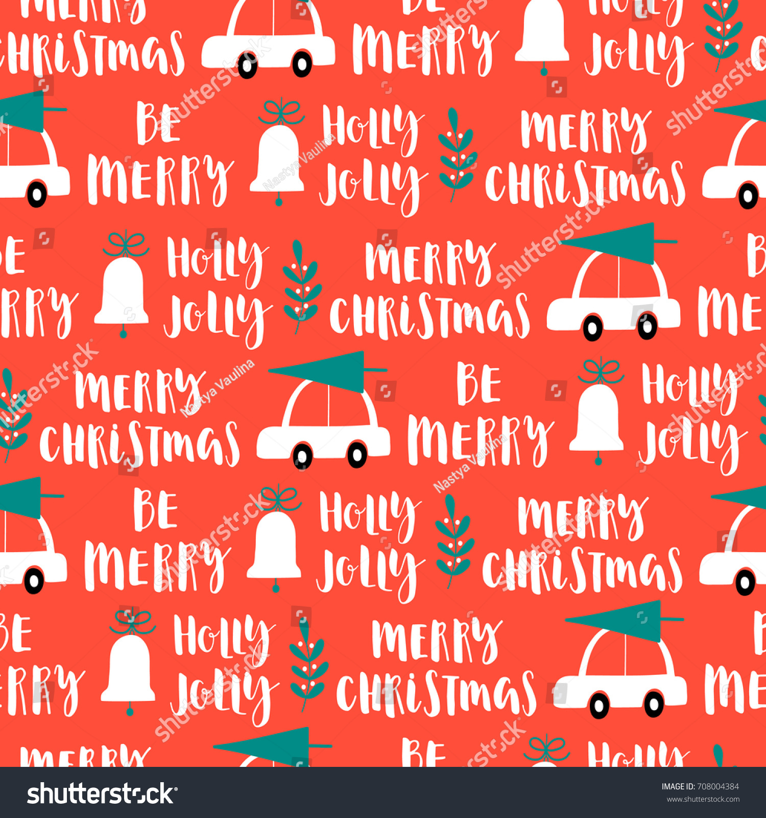 vector christmas words seamless pattern on red background