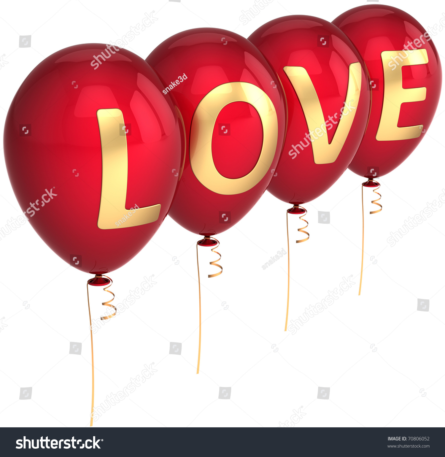 Red Balloons Decorated Golden Love Word Stock Illustration 70806052