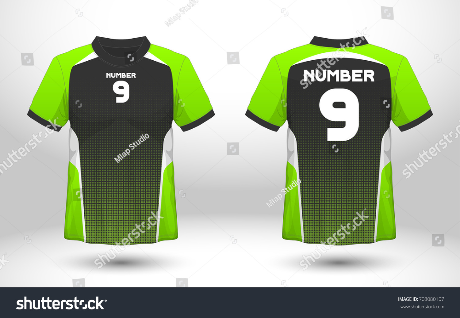 cfba379f1 Green and black layout football sport t-shirt design. Template front, back  view. Soccer kit national team shirt mock up. Vector Illustration. - Vector