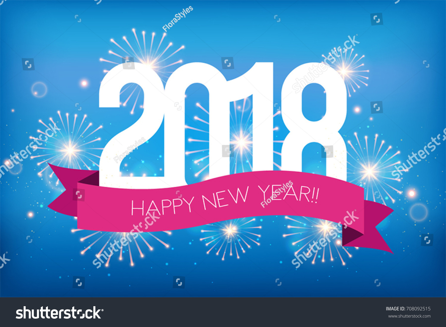 happy new year 2018 greeting card stock vector 708092515
