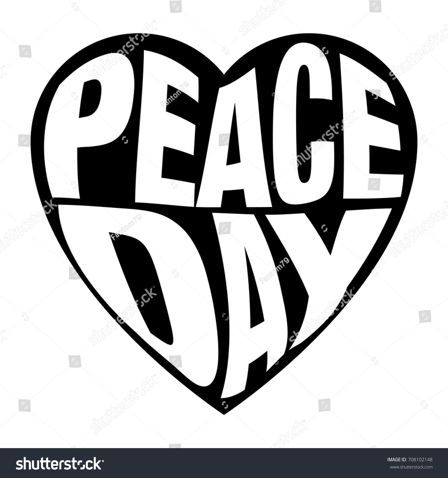 Peace Day Typography Greeting Card Vector Stock Vector 708102148