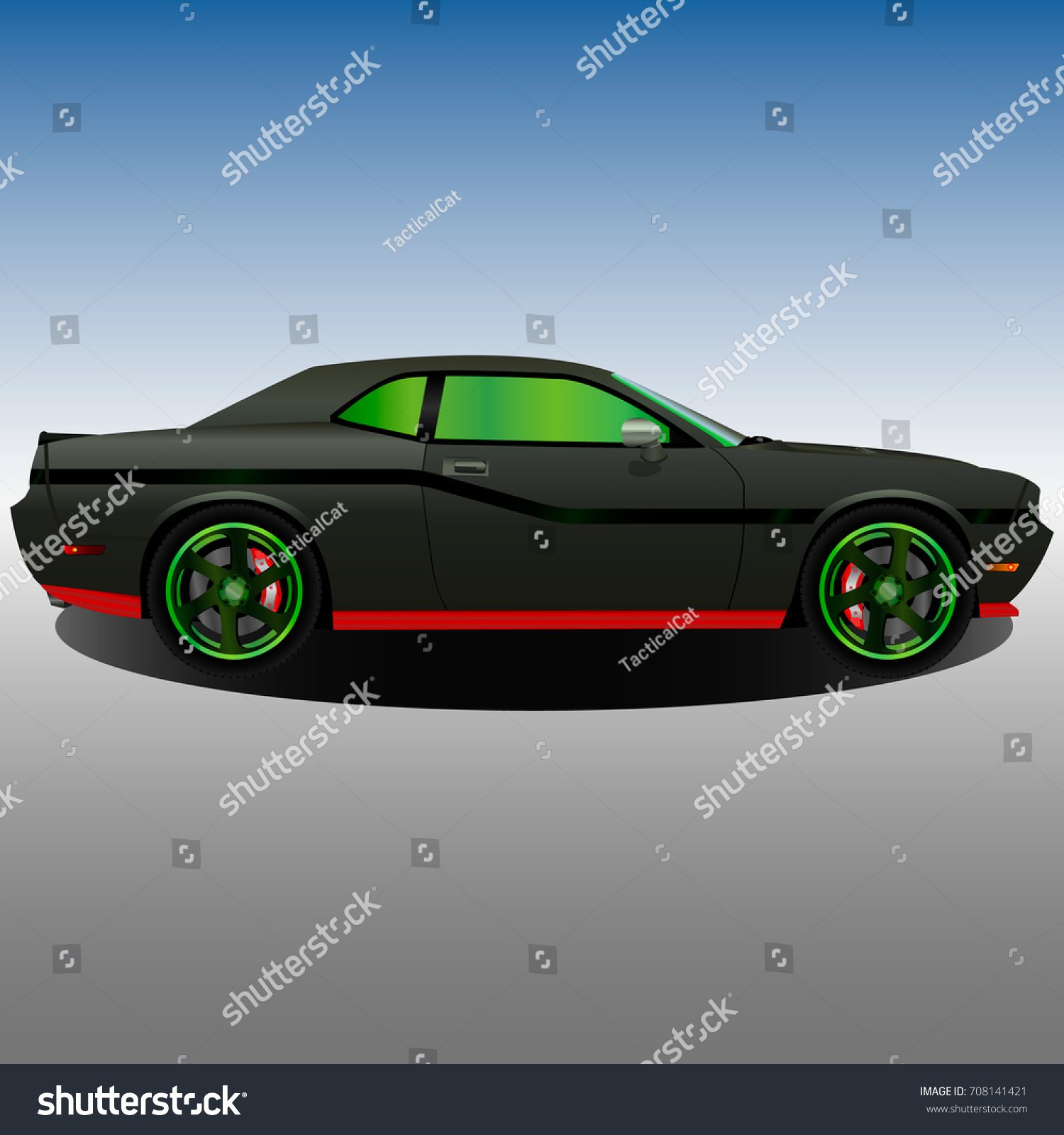 Old Muscle Car Black Body Green Stock Vector 708141421 - Shutterstock