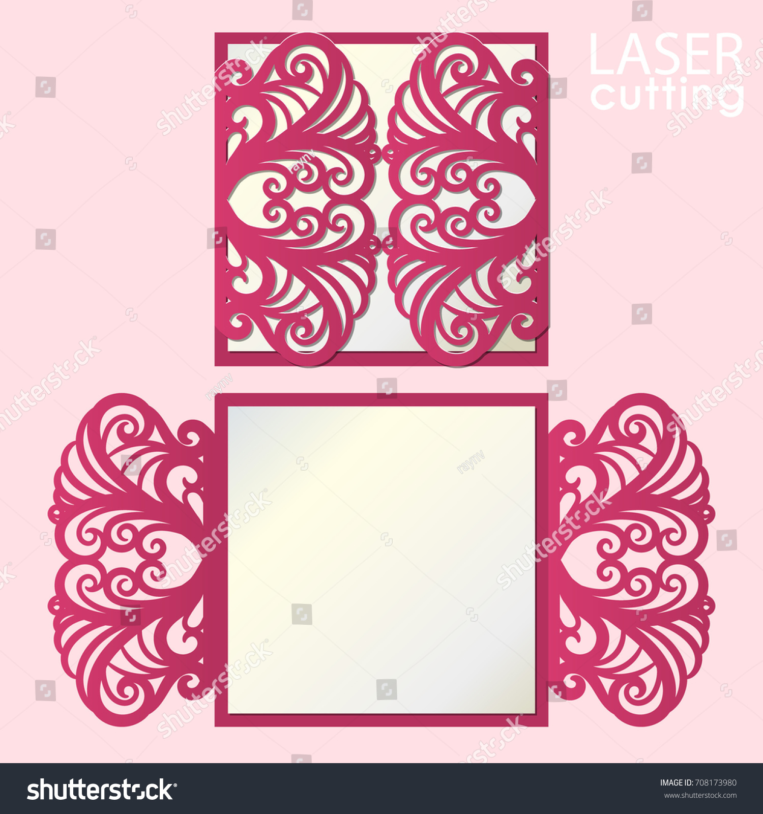 Laser Cut Wedding Invitation Card Template Vector Cutout Paper Gate Fold For Cutting: Cut Out Wedding Invitation Card Templates At Websimilar.org
