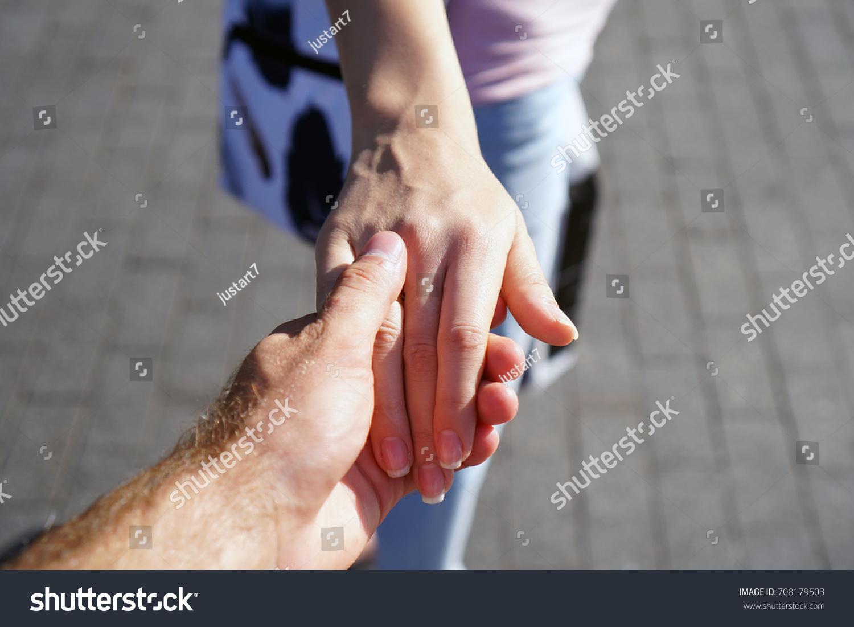 Hand Guy Holding Girls Hand Stock Photo 708179503 - Shutterstock