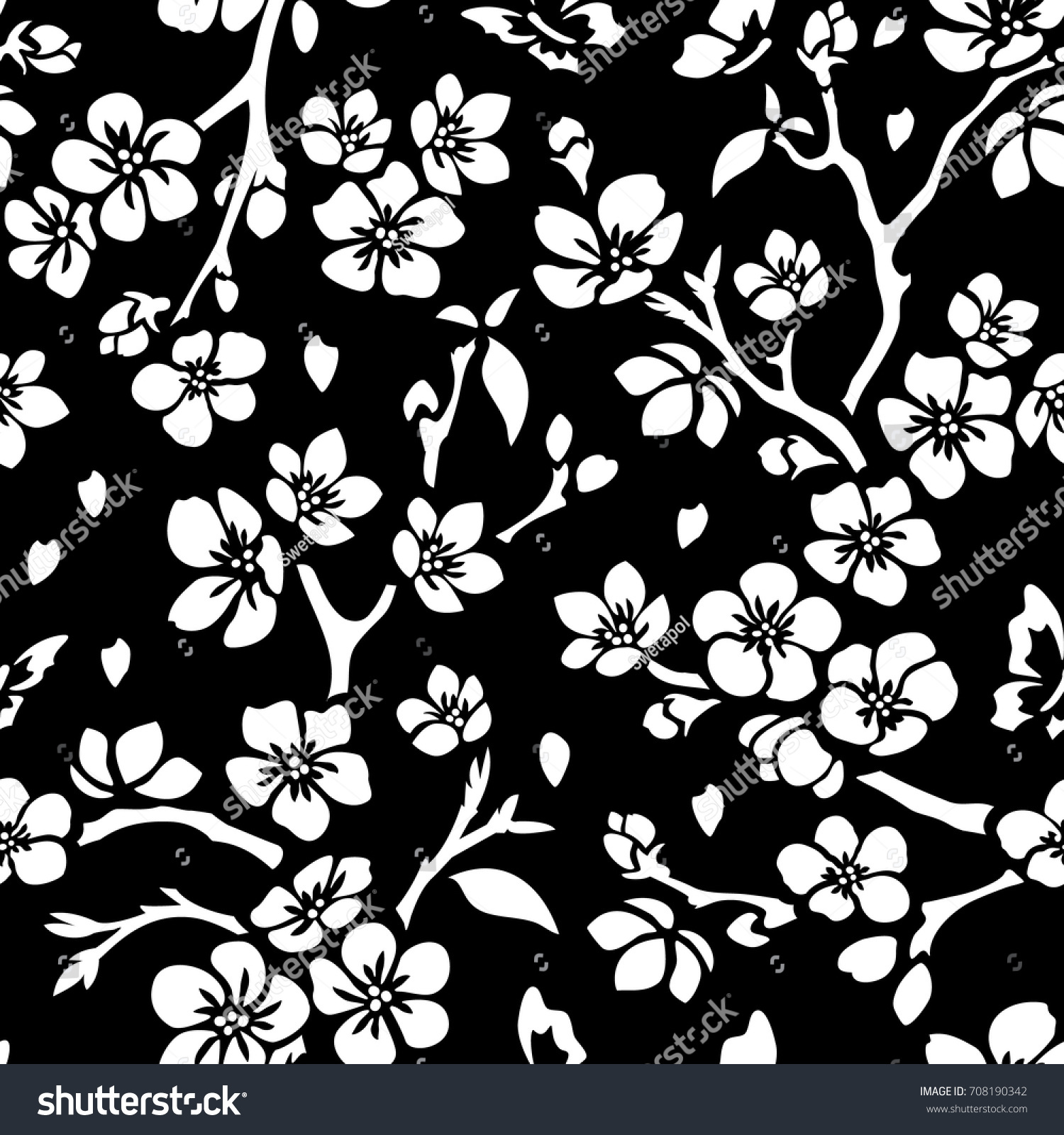 cherry blossom vector template seamless flowers stock vector