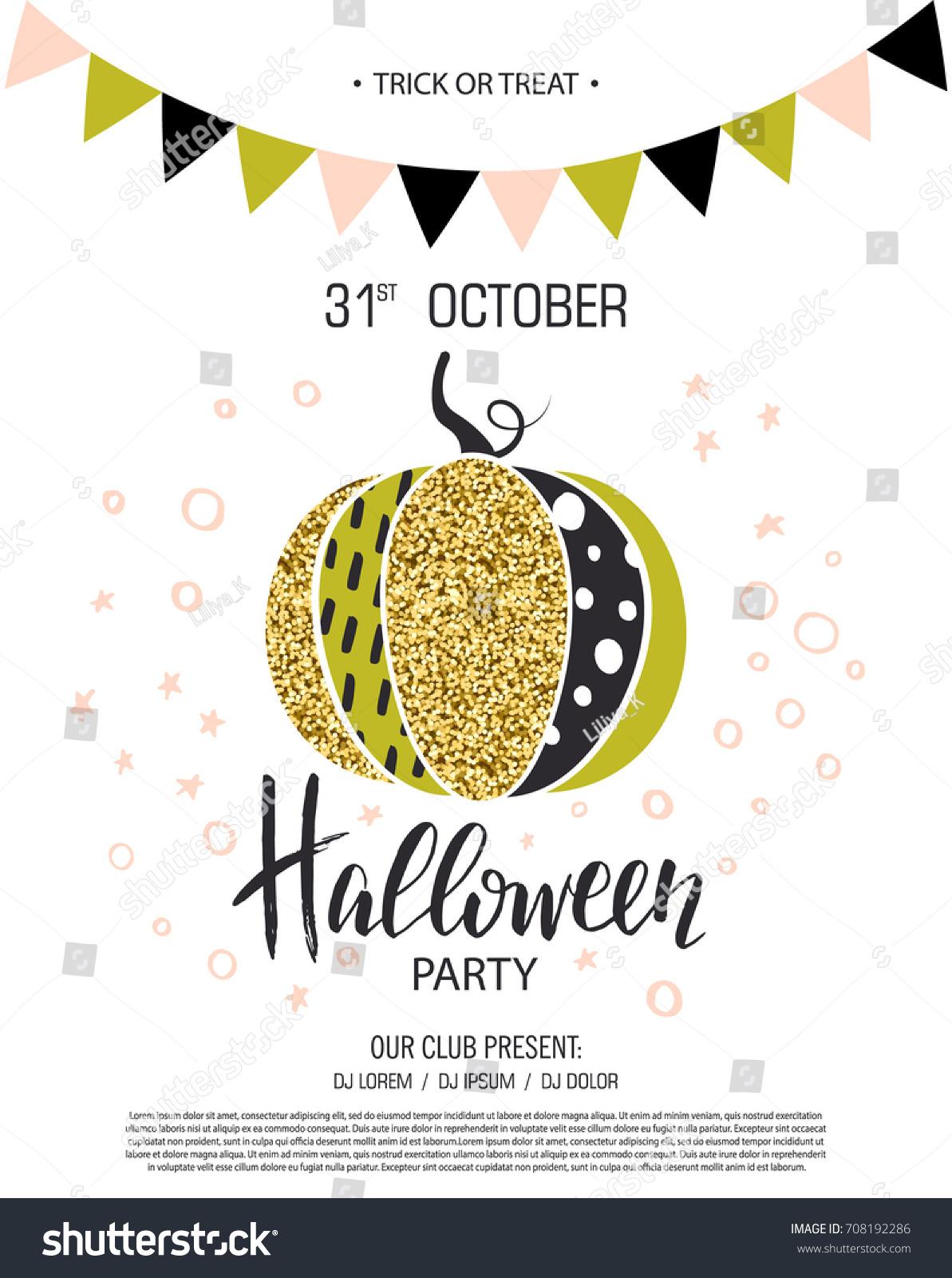 happy halloween invitation party cute glamorous stock vector