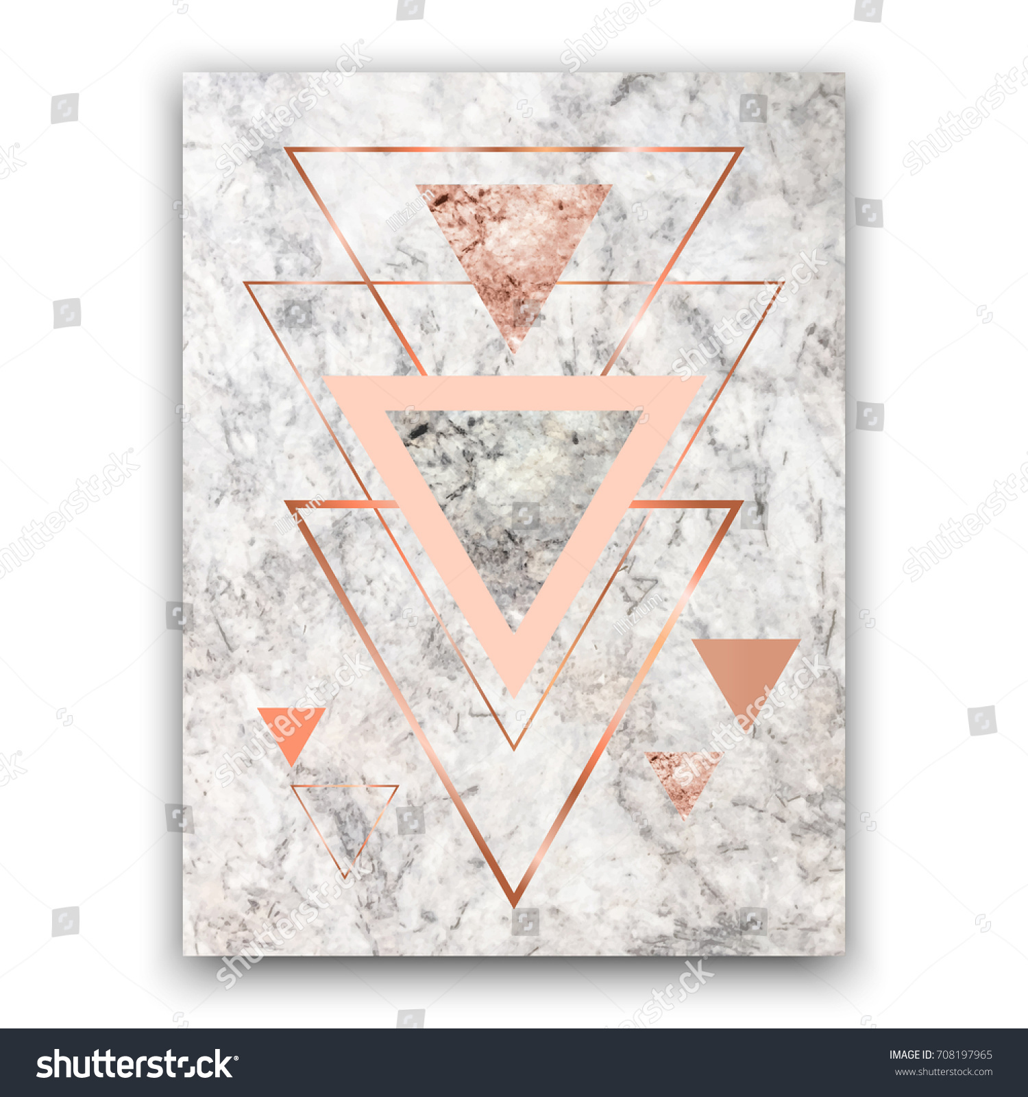 Marble Background Rose Gold Triangles Geometric Stock Vector