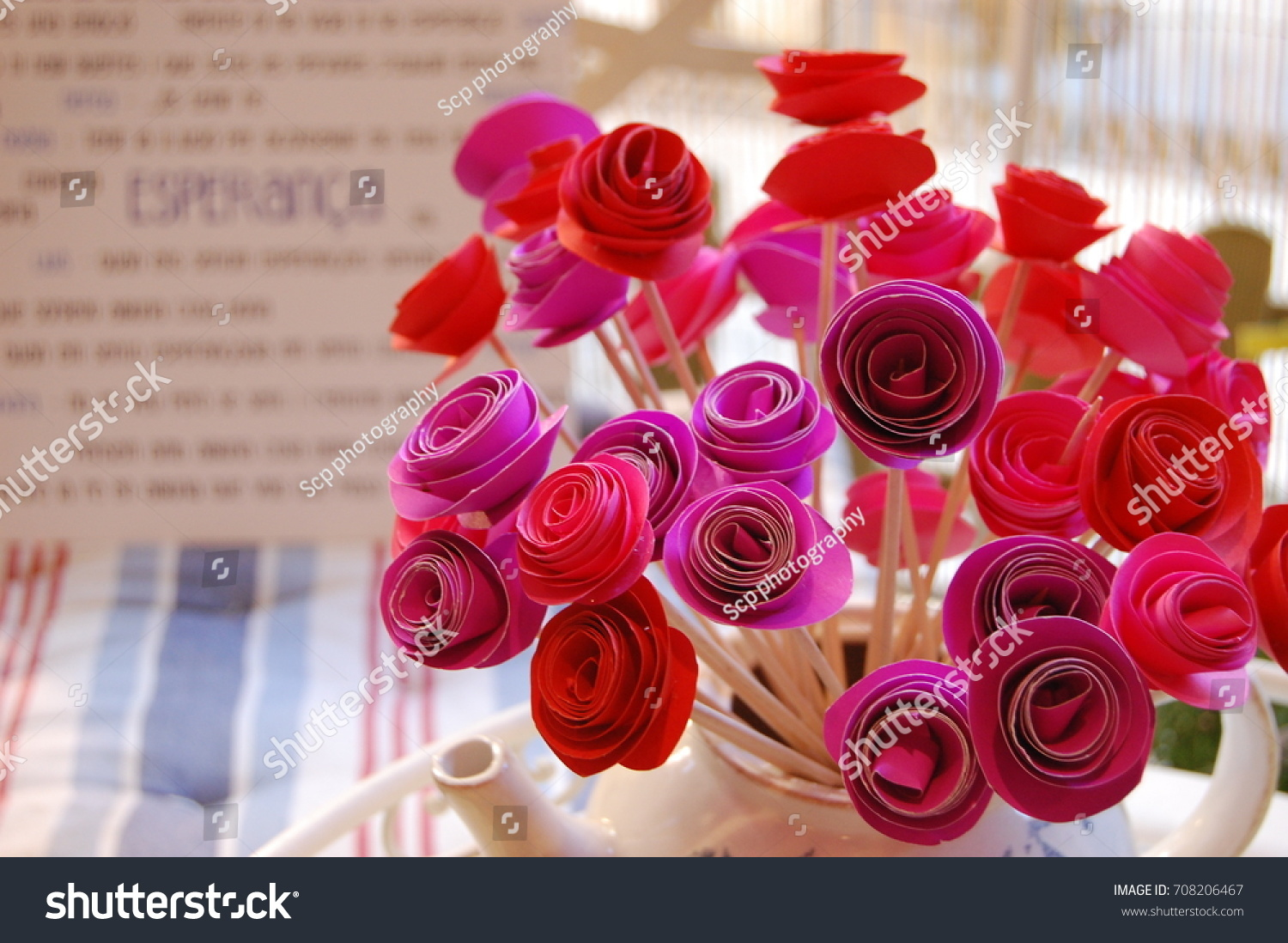 Red Pink Rolled Paper Flowers Rose Stock Photo Edit Now 708206467