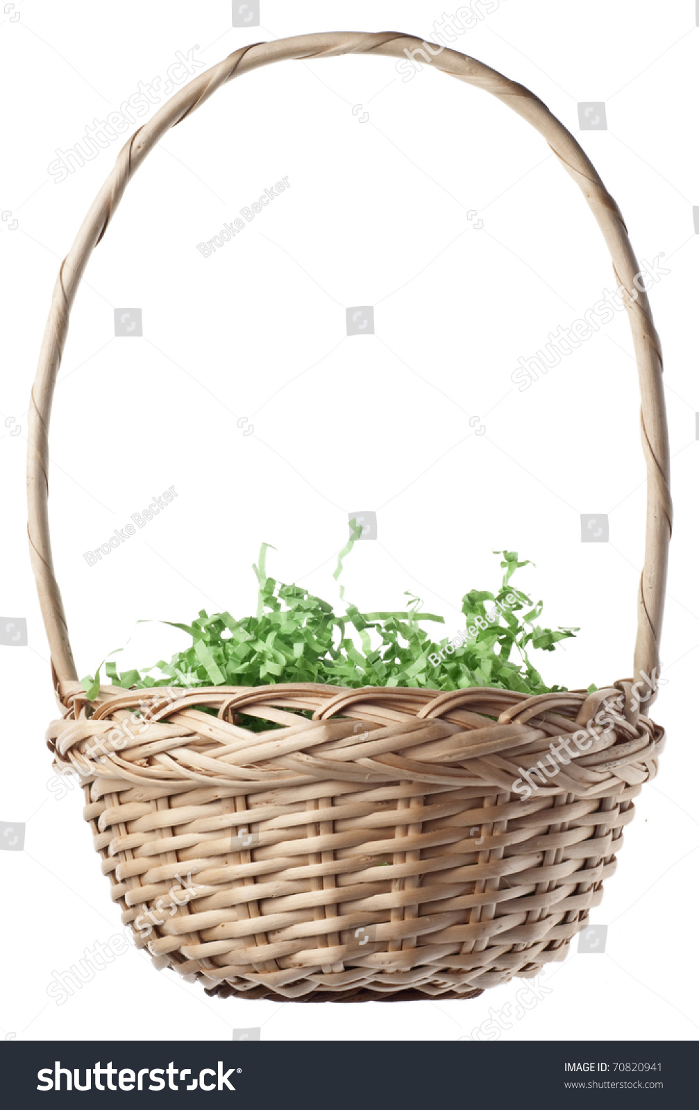 Empty Easter Basket With Green Grass Isolated On White A Clipping Path