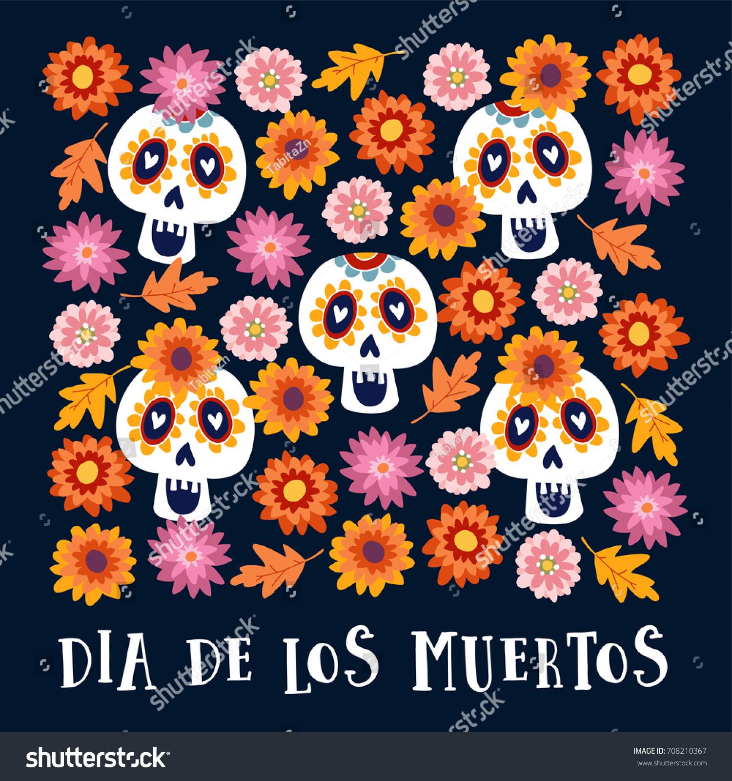 Dia De Los Muertos Halloween Greeting Stock Vector Royalty Free