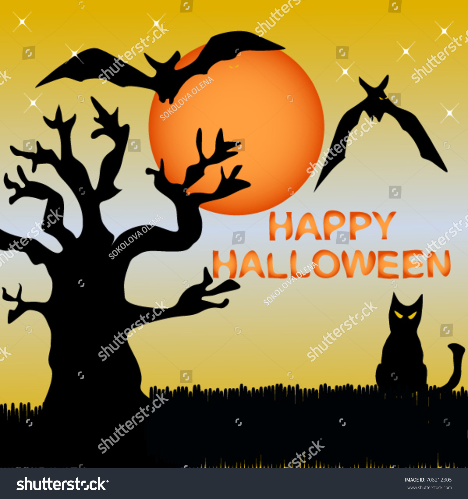 Fright Atmosphere Halloween Day Background Happy Stock Vector ...