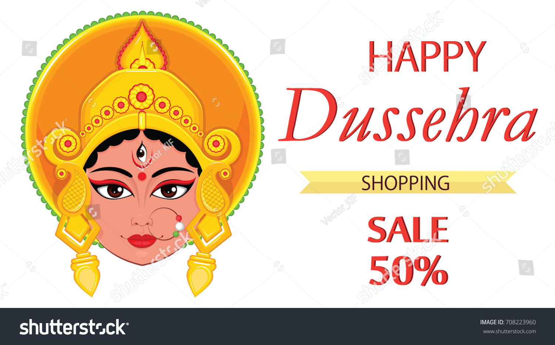 Happy Dussehra Greeting Card Maa Durga Stock Vector 708223960
