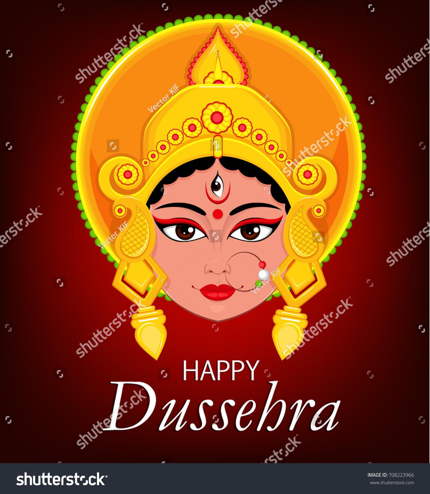 Happy Dussehra Greeting Card Maa Durga Stock Vector Hd Royalty Free