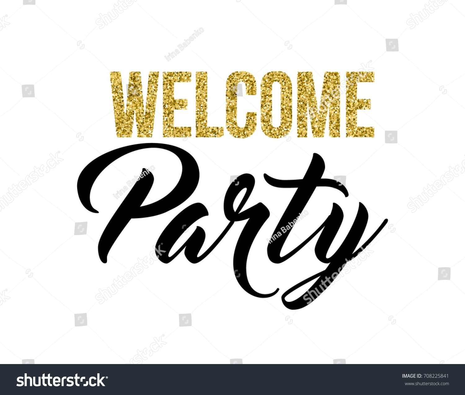 Welcome Party Calligraphy Invitation Card Banner เวกเตอร์สต็อก ...