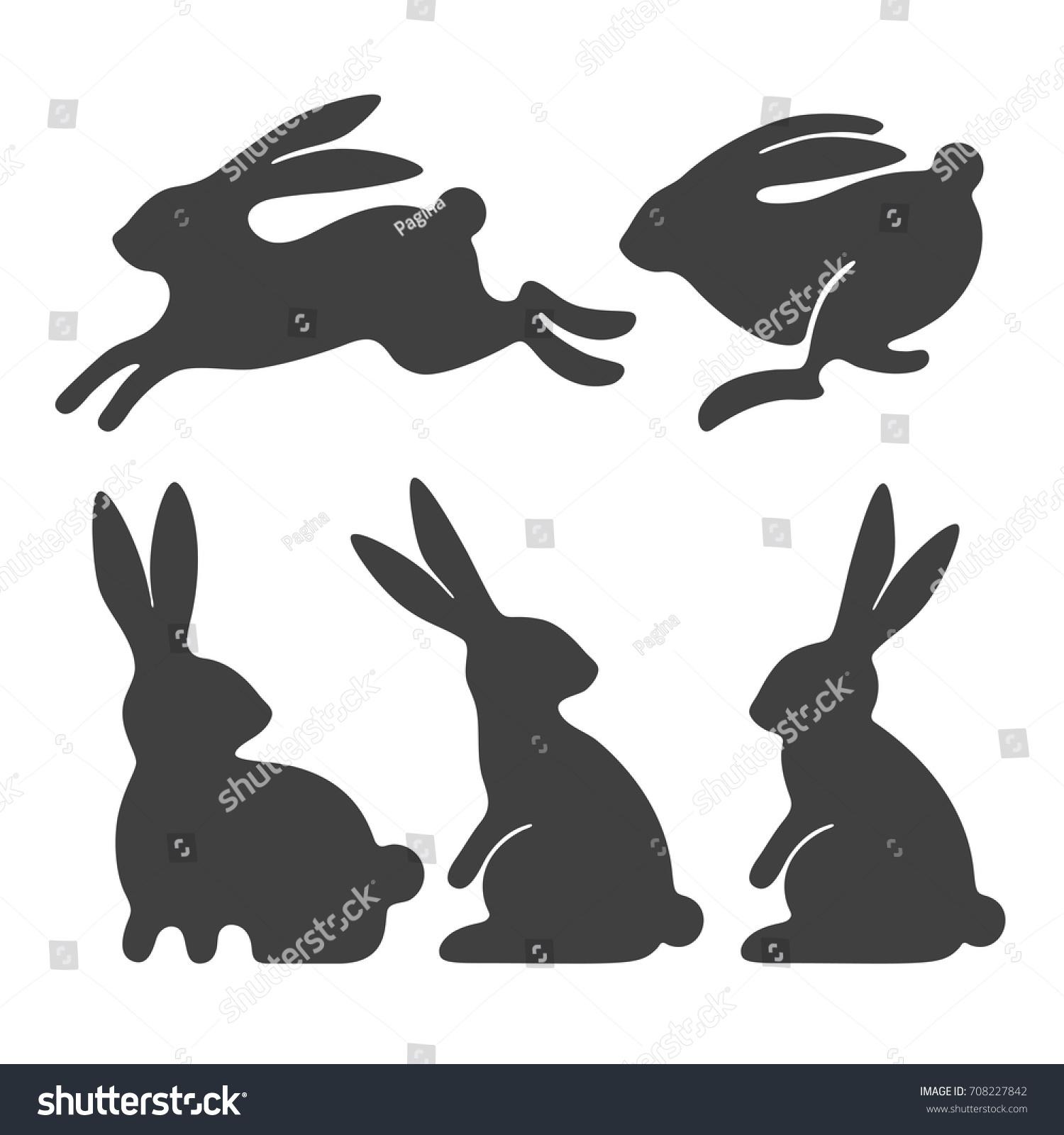 Rabbit Set Stylized Silhouettes Sitting Running Stock ...