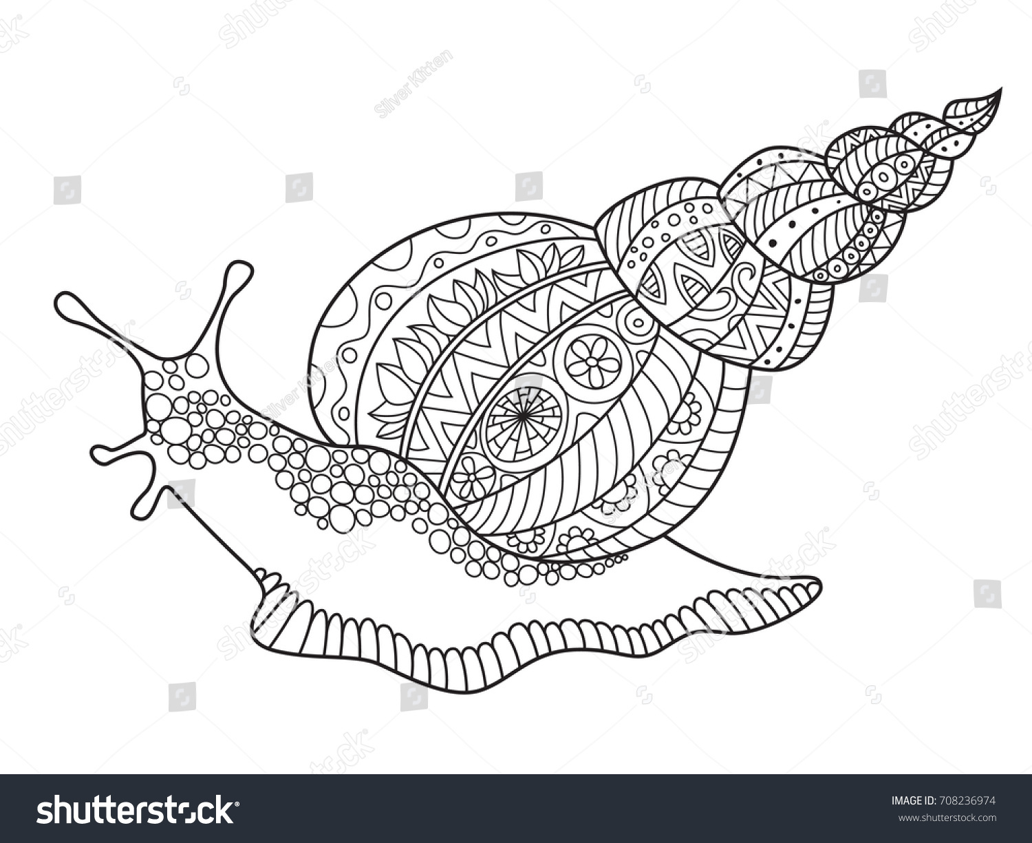 Outlined Doodle Antistress Coloring Giant Snail Stock Vector ...