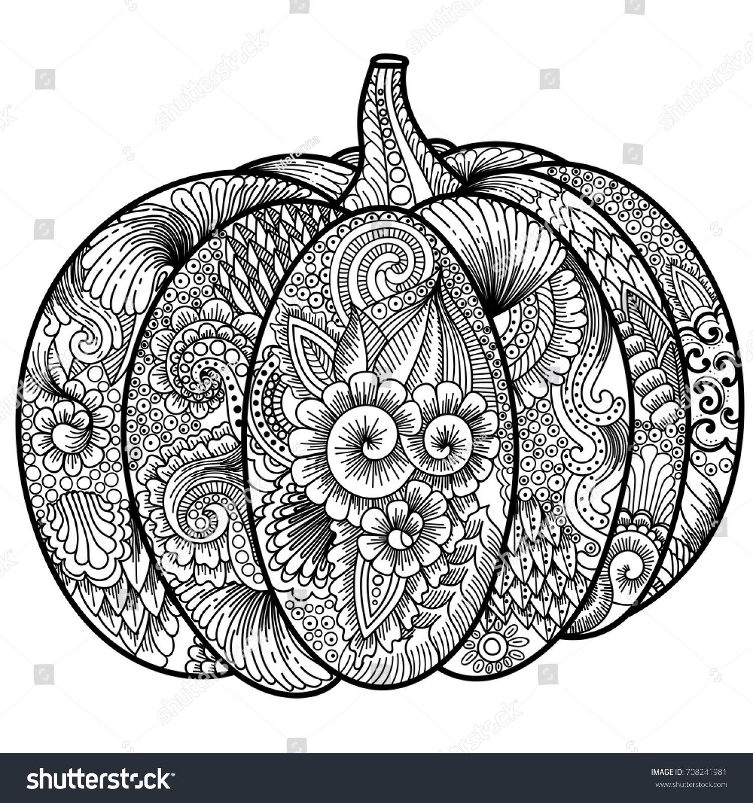 Halloween Pumpkin Coloring Book Adult Antistress Stock Vector HD ...