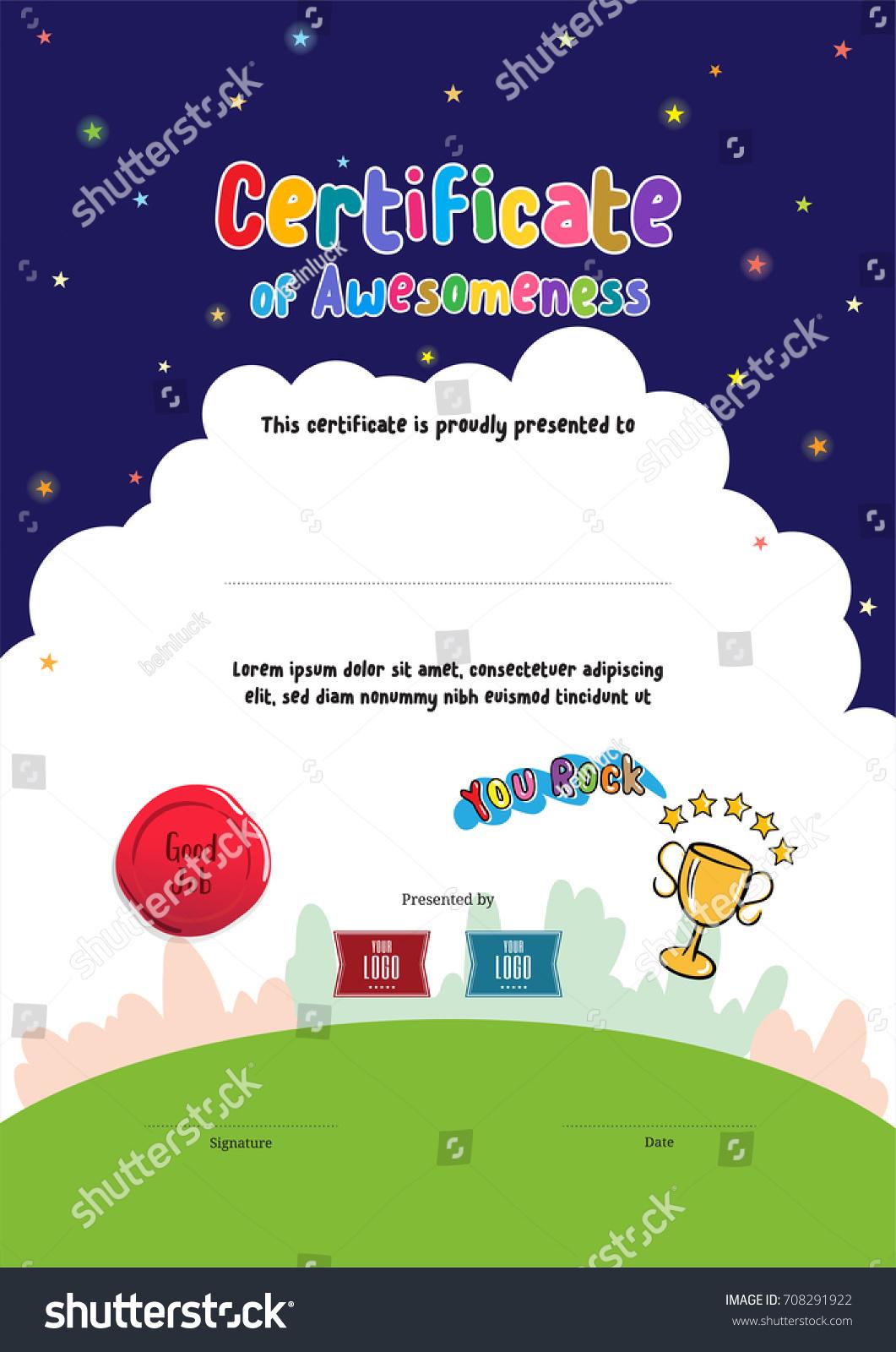 Kids Diploma Certificate Awesomeness Template Cartoon Stock Vector