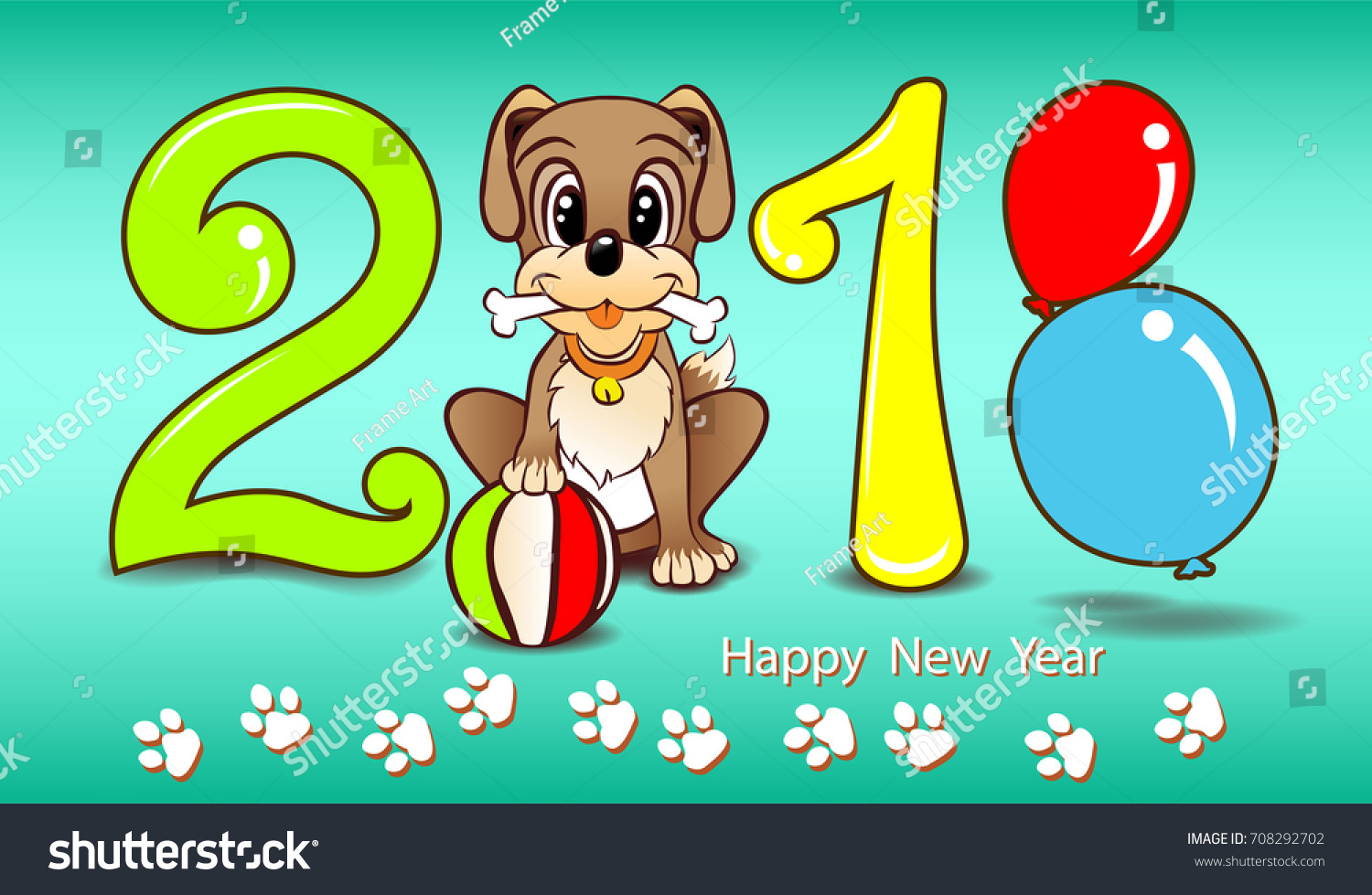 Vector Color Numbers 2018 Happy New Stock Vector (Royalty Free ...