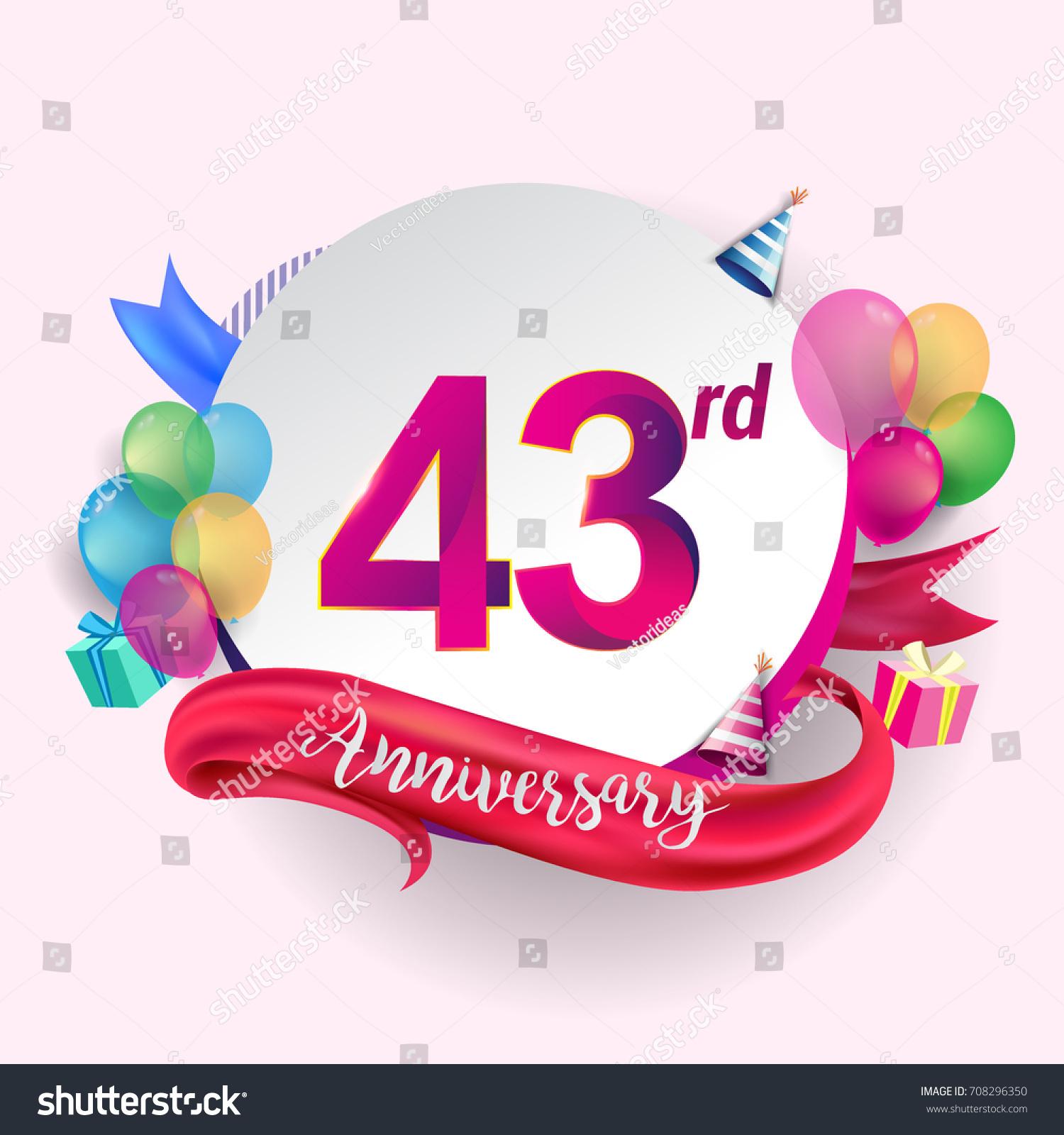 43rd Anniversary Logo Ribbon Balloon Gift Stock Vector Royalty Free