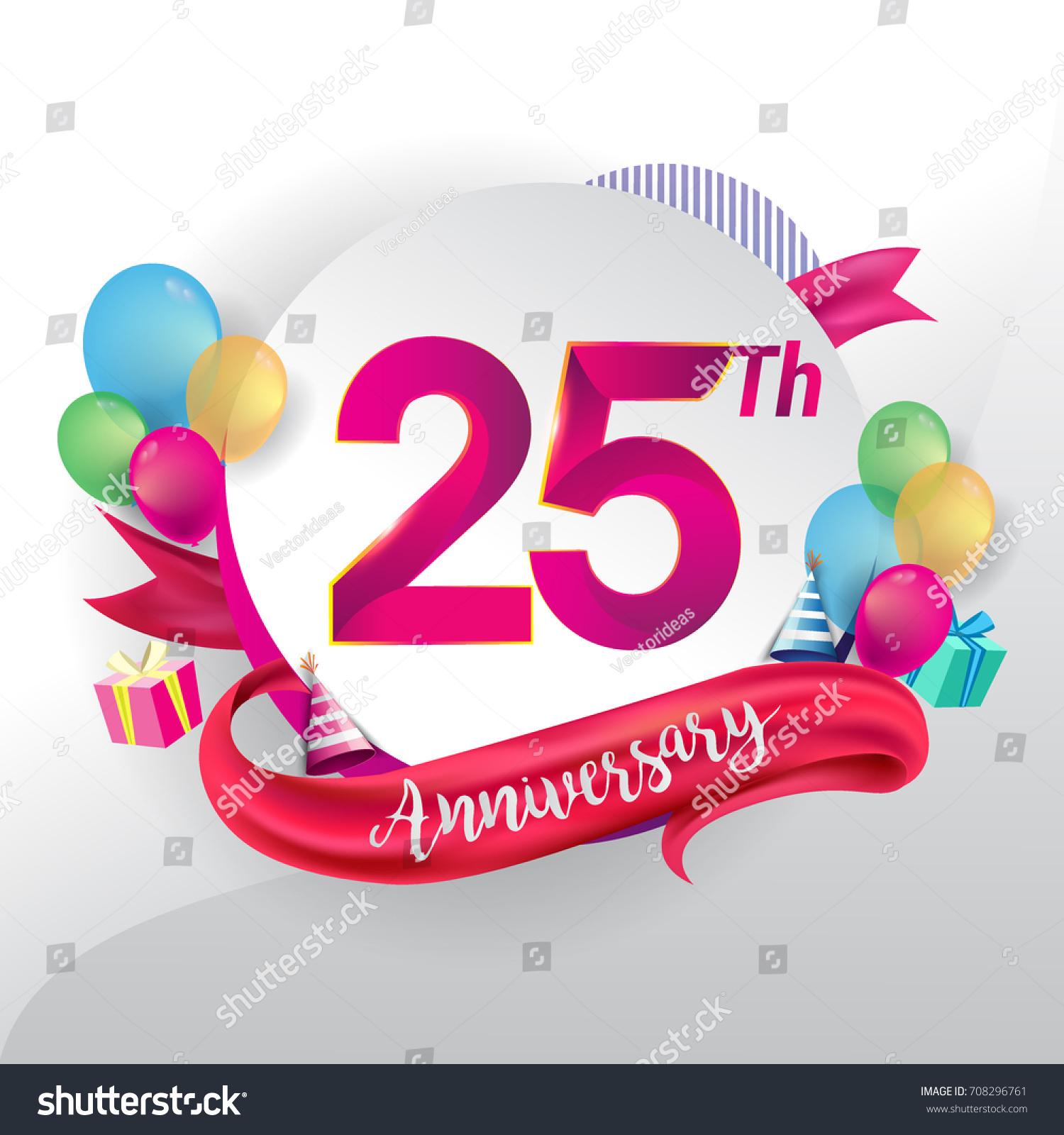 25th Anniversary Logo Ribbon Balloon Gift Stock Vector 708296761 ...