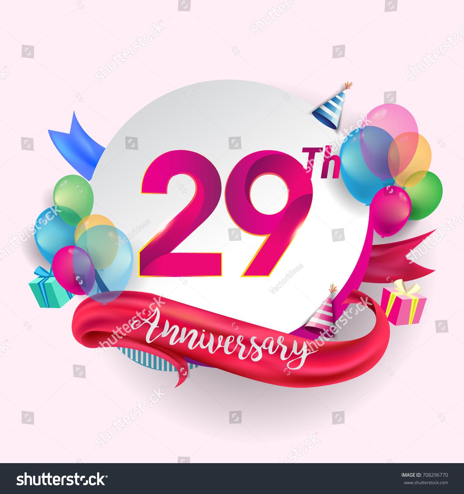 29th Anniversary Logo Ribbon Balloon Gift Stock Vector Hd Royalty