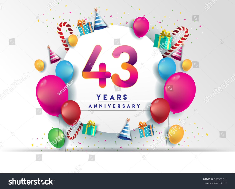 43rd Years Anniversary Celebration Design Balloons Stock Vector