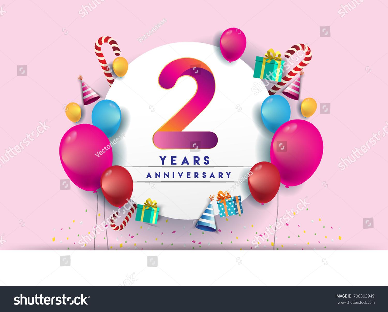 2nd Years Anniversary Celebration Design Balloons Stock Vector (2018 ...