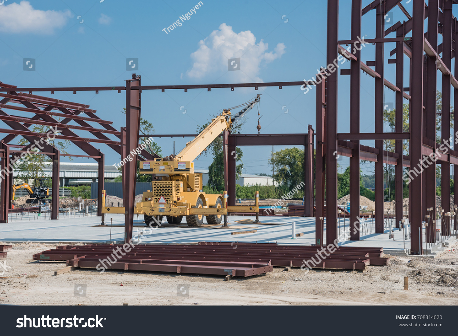 Steel Structure New Industrial Building Under Stock Photo (100 ...