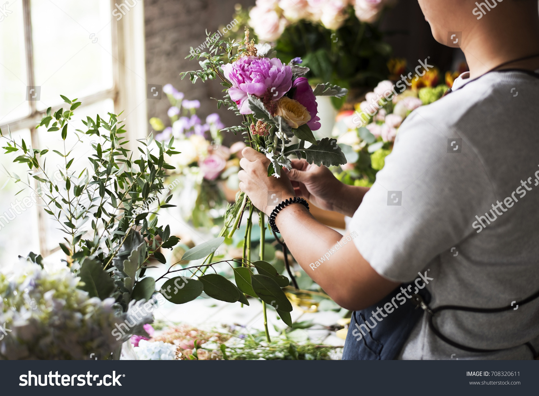 Florist Making Fresh Flowers Bouquet Arrangement Stock Photo Edit