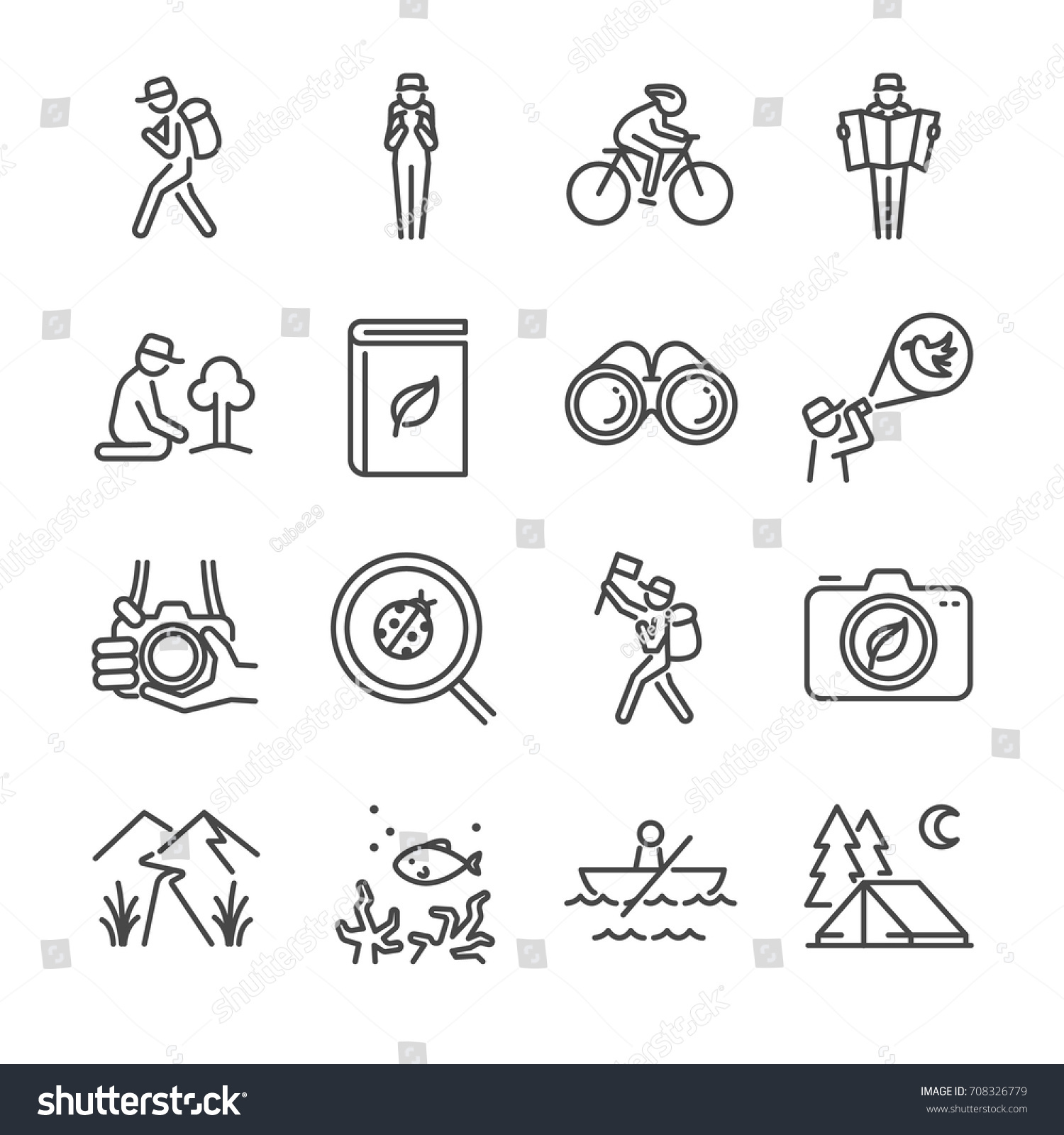 Eco tourism line icon set. Included the icons as traveler, camera, map, tourist, view, bird watching, camping and more.