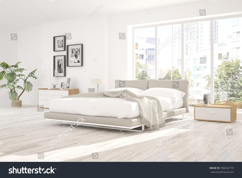 Inspiration of white minimalist bedroom with summer landscape in window. Scandinavian interior design. 3D & Inspiration White Minimalist Bedroom Summer Landscape Stock ...
