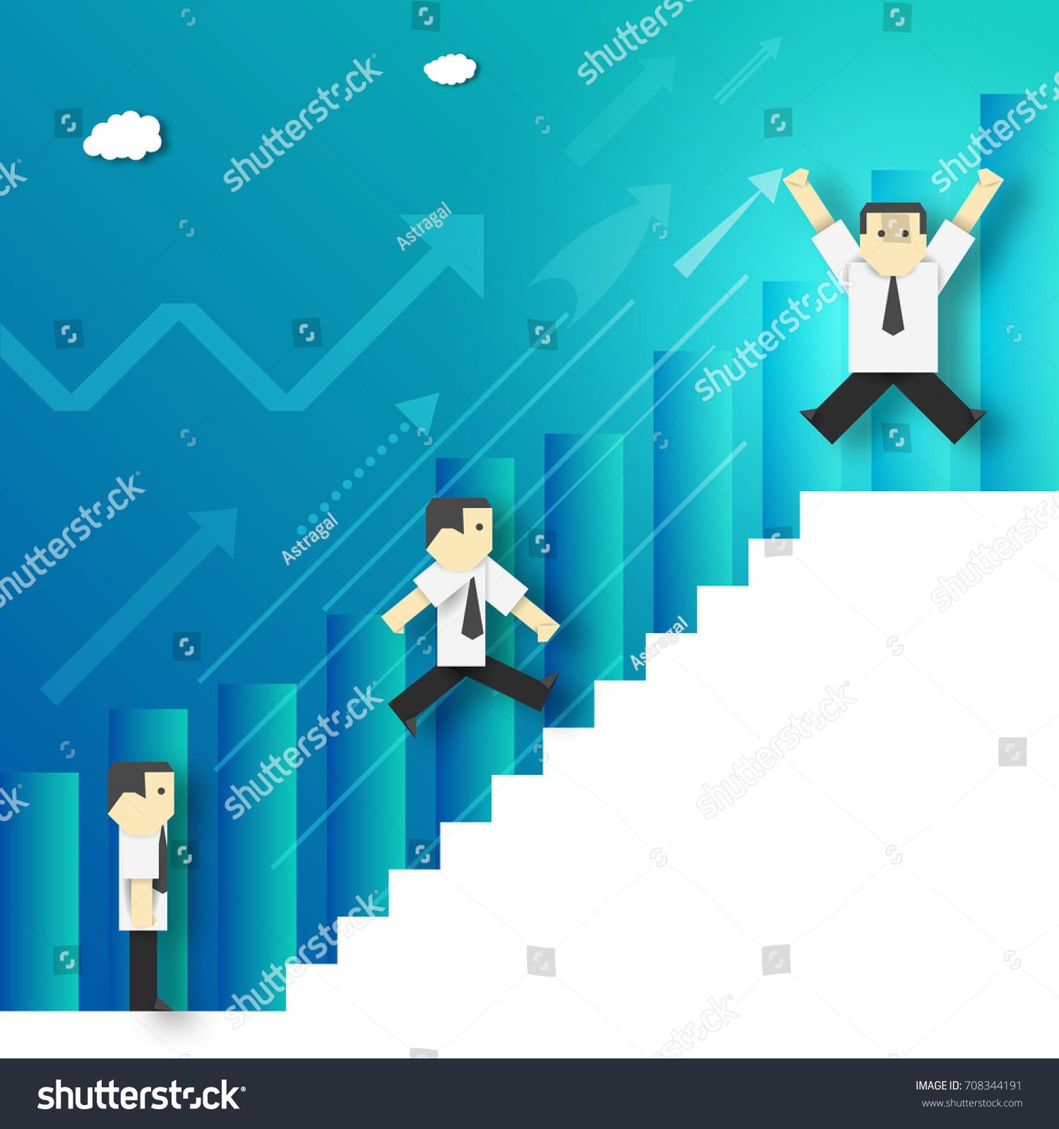 businessman climbing career ladder paper origami stock
