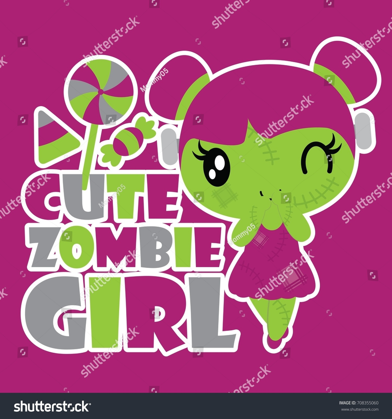 Best Wallpaper Halloween Pink - stock-vector-cute-zombie-girl-with-colorful-candies-vector-cartoon-illustration-for-halloween-card-design-708355060  Image_151130.jpg