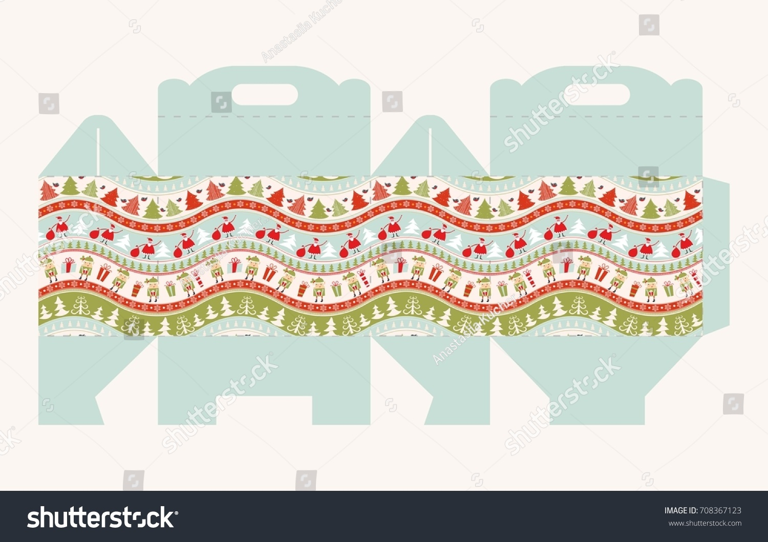 Greeting Packaging Christmas Pattern Gift Box Stock Vector Royalty