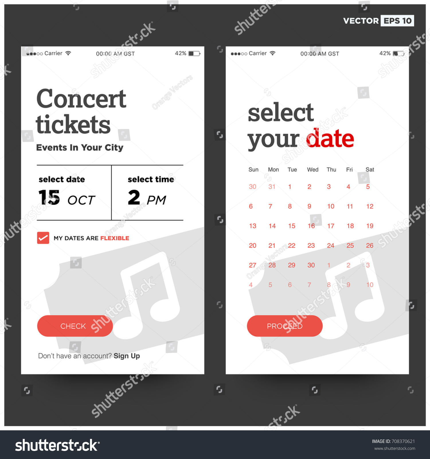 Concert Tickets Events Your City UI Stock-Vektorgrafik 708370621 ...