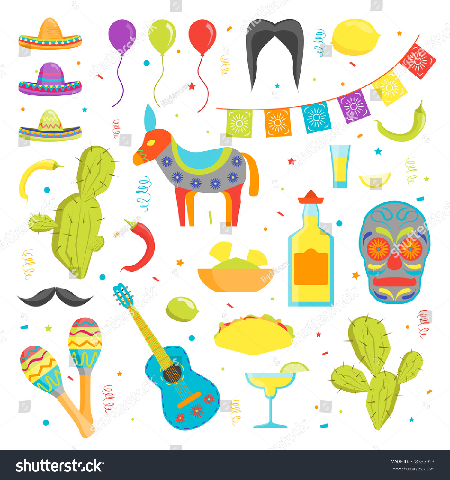 Cartoon Symbol Mexico Color Icons Set Stock Vector Royalty Free