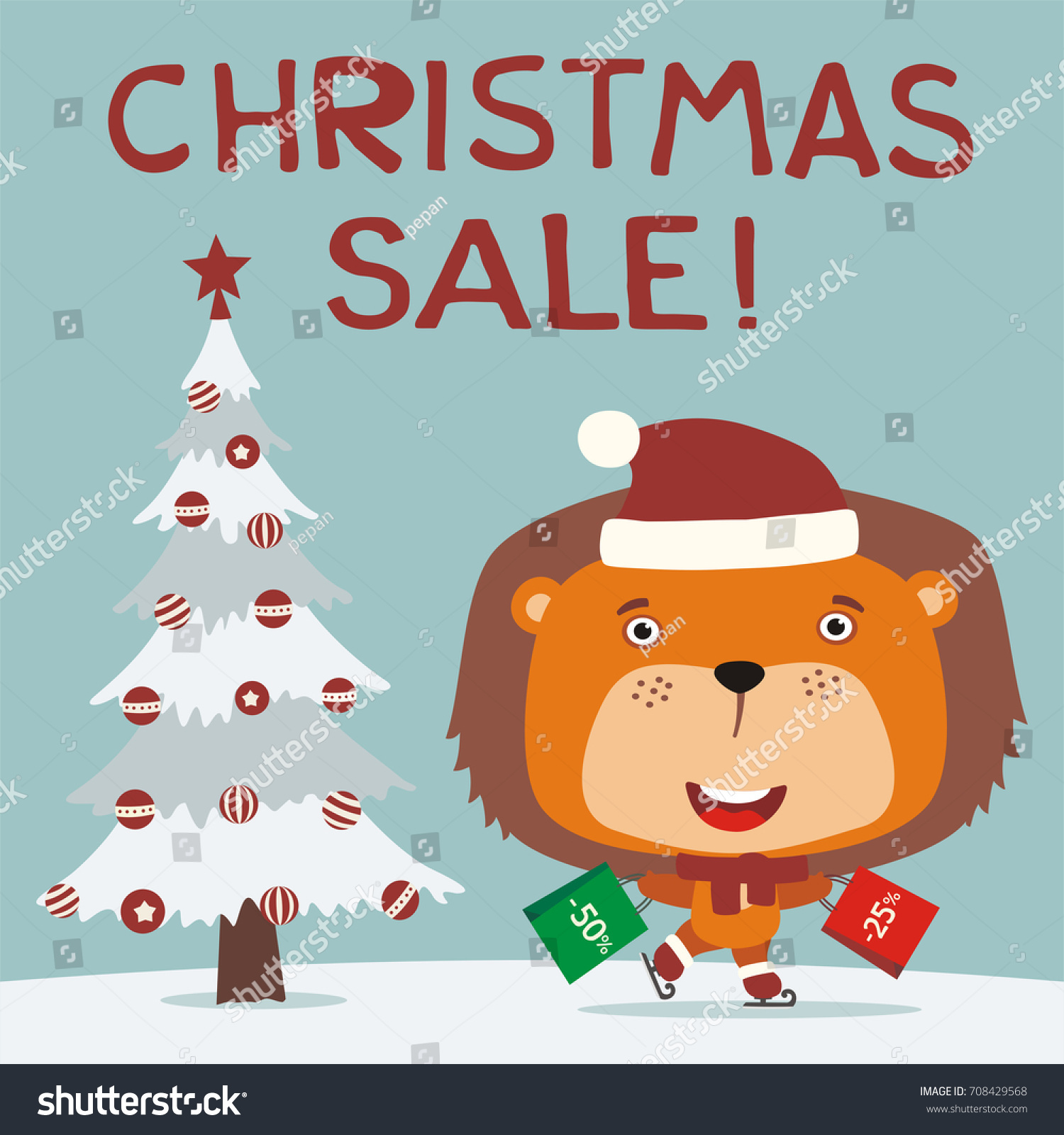 Christmas sale funny lion skating packages stock vector
