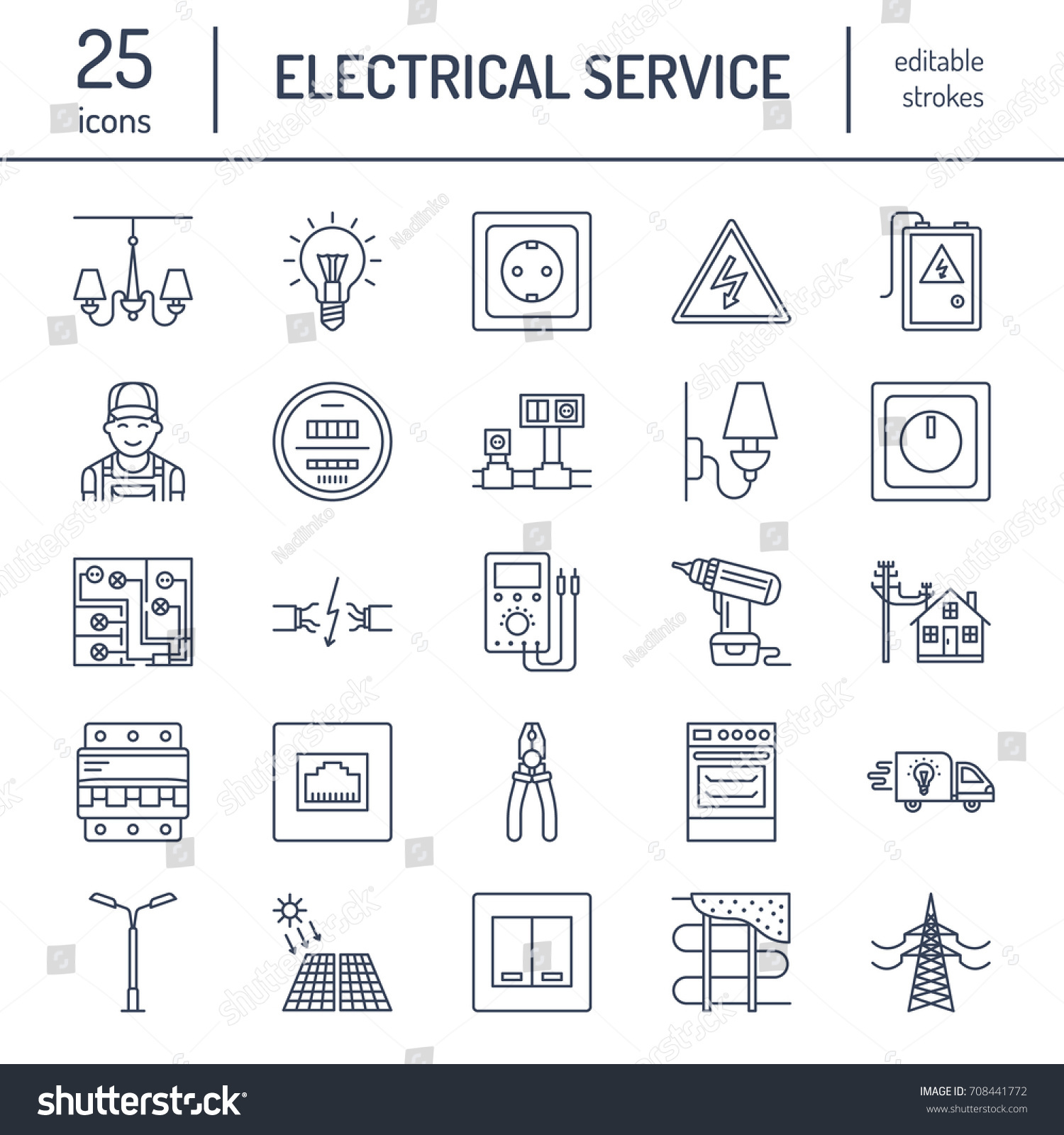 Electricity Engineering Vector Flat Line Icons Stock Royalty Wiring House Sockets Electrical Equipment Power Socket Torn Wire